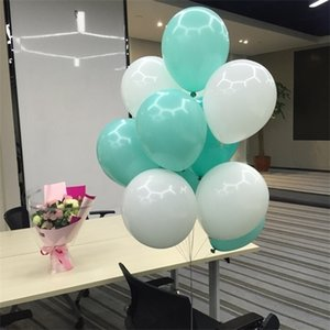 100 balloons Mint Green and white latex balloon helium 10 inch Tiffany Blue Party Supplies Wedding Event Party Birthday Decor 1027