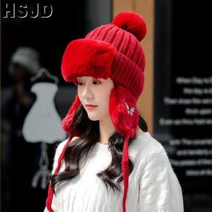 Cappelli dell'orecchio delle donne Warmer Cap Moda farfalla ricamo invernali Stoffe Cappelli per le donne spessore caldo Skullies Berretti Bomber Cap