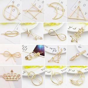 Nueva Promoción de moda del círculo de la vendimia del labio Luna Triángulo del Pin de pelo del clip de la horquilla Pretty joyería y accesorios de metal muchachas de las mujeres