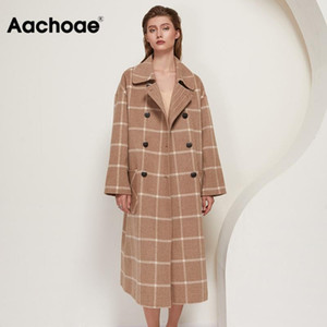 Aachoae Winter Fashion Plaid Langwollmantel Frauen 2020 Batwing Langarm-Chic Taschen Mäntel beiläufige zweireihige Oberbekleidung