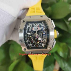 Artículos calientes Reloj de alta calidad 50 mm x 40 mm RM11-03 RM 11-03 Flyback Bandas de goma Esqueleto Transparente Menoráticos MENS Relojes para hombre