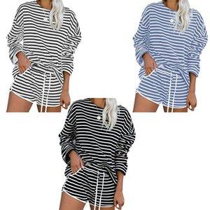 Women 2 Piece Stripes Print Pajamas Set Long Sleeves O-Neck Pullover Tops Drawstring Pockets Shorts Sleepwear Loungewear1