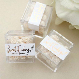 50PCS Clear Acrylic Box Favors Party Gifts 6cmx6cmx6cm Chocolate Sweet Holder Birthday Event Candy Package Container Baking Packing Supplies