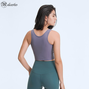 2021 KISA YOGA Yelek Dipli Ceket Kupalar ile Moda Basit Dış Giyim Rahat Spor Spor Yoga Giysileri