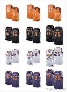 Mens женщин молодежиФениксСолнца16 Тайлер Джонсон 8 Каминский 25 Mikal Мосты черные белой оранжевые пользовательский баскетбольные