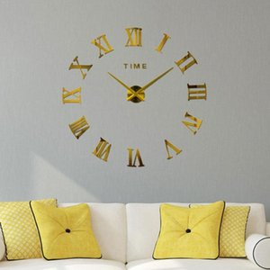 DIY 3D Large Wall Clock Silent Acrylic Mirror Self Roman Clock Decorative Wall Modern Design adhesive Numerals Sticker R7T0