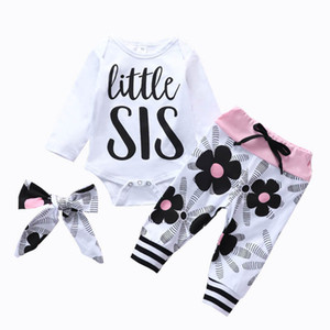 2021 New 0-2Y Baby Suits Girls Outfits Infant Sets Cotton Long Sleeve Flower Romper +Pants+Headbands 3Pcs Newborn Clothes B3771
