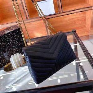 Heiße Designer Handtaschen Square Fat Loulou Kette Tasche Echte Leder Damen Tasche Große Kapazität Umhängetaschen Hohe Qualität Quilted Messenger Bag