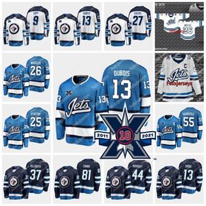 Winnipeg Jets 10. Yıldönümü 13 Pierre-Luc Dubois Blake Wheeler Mark Scheifele Paul Stastny Connor Hellebuyck Josh Morrissey Jersey