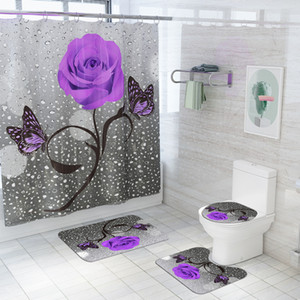 Flanell Badezimmer Teppiche Wohnkultur Badematte und Dusche Vorhang Set WC Badewanne Teppiche None Slip Badezimmer Teppich Toilette Bodenmatte GWE4660