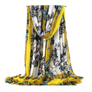 The latest spring, summer, autumn and winter scarves women's fashion women's long scarf leaves printed veil scarf ladies shawl sof