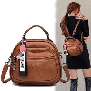 Women's New Multifunctional Travel PU Leather Mini Ladies Backpack Mochila Female Student Shoulder School Bag Q1113