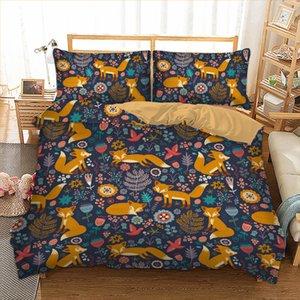 Dibujos animados zorro de cama juego sonrisa zorros impresión cubierta edredón funda de almohada doble reina king size size ropa cama lino 3 unids casa textiles 201102