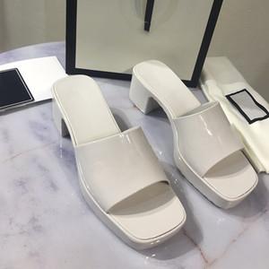 """Designer sandálias mulheres mulheres salto alto corrediça de borracha plataforma de sandália chinelo chunky 2.4 """"sapatos de altura do calcanhar verão flip flops com caixa 267"""