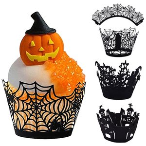 12pcs Cupcake Baking Cup Hollow Out Paper Cake Wrapper Witch Spiderweb Castle Halloween Decoration
