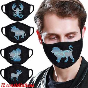 Nuova maschera di costellazione creativa traspirante antipolvere antipolvere smog viso bocca maschere 12 segni zodiacali maschera per bocca protettiva 200pcs T1I3383