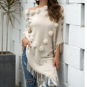 Kadınlar O-Boyun Katı Hairball Püskül Cloak Gevşek Şal giyim Triko sweter 2020 chamarras de mujer Noel invierno