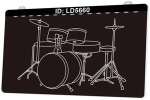 LD5660 Musical Instrument Drums Percussion Instrument 3D Engraving LED Light Sign 9 Colors Wholesale Retail Free Design