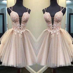 Champagne Lace 2020 Graduation Homecoming Dresses A Line Mini Length Lace Applique Sexy Deep V Neck Criss Cross Straps Tulle Girls Party