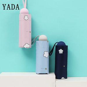 Yada Luce Mini White Cloud Ombrelli Cancella Rainy Cinque piegante della tasca ombrello per la ragazza delle donne uomini uv impermeabile Ombrelli Yd274 yxlywB