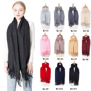 Winter autumn Luxury Scarfs Solid color Tassel scarf imitation Pashmina scarves Wrap Scarves Women Man Ring shawls fashion gift