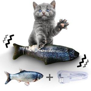 Jouet pour chat électrique USB de charge Simulation Poisson Jouets Chien Chat Chewing Jouer jouet en peluche interactif cataire jouet électronique
