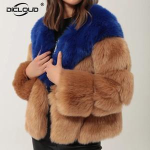 Contraste Luxo Brasão Cor Fur Mulheres Winter Faux Fox Fur Jackets Coats Street Fashion Fluffy Overcoat Grosso Falso Quente Casaco de peles 201016
