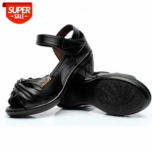 Aiyuqi Women Sandals 2020 Verano Nuevas Sandalias de cuero genuino Mujeres Wedgues Abre Toe Tamaño grande 41 42 43 Mamá romana # ju4o
