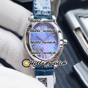 Nueva Happy Sport Oval Feliz Diamantes 275362 ETA 2824 automático del reloj para mujer azul de la concha de cuero del dial de acero relojes de señoras de HWRX Hello_watch.