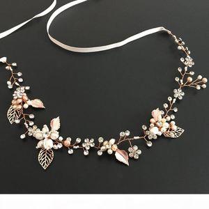 Slbridal Rose Gold Wired Rhinestones Crystals Freshwater Pearls Wedding Headband Bridal Hair Vine Hair Accessories Bridesmaids SH190713