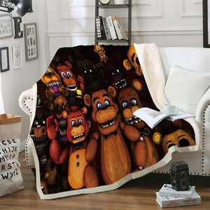 Five Nights At Freddy's 3D Printed Sherpa Blanket Couch Quilt Cover Travel Bedding Velvet Plush Throw Fleece Blanket Bedspread