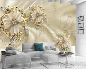 Varejo personalizado 3D Palácio Europeu Estilo Bela Atmosfera TV Background Parede Stereoscopic Gold Diamond Flower Map