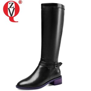 ZVQ winter new fashion knee high boots outside comfortable mid heels handmade genuine leather zip women shoes drop shipping