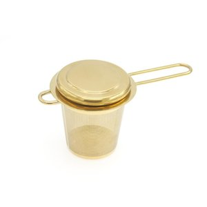 Stainless Steel Gold Tea Strainer Folding Foldable Tea Infuser Basket for Teapot Cup Teaware Wholesale DWD2708