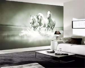 3d Home Wallpaper Mercedes's White Horse American Vintage Indoor TV Background Wall Decoration Wallpaper