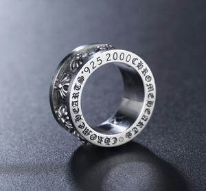 2021 925 Sterling Silber Stil Amerikanisch Europa Finger Ringe Schmuck Handgemachte Designerkreuze Antike Silber Hip Hop Band Ring für Männer