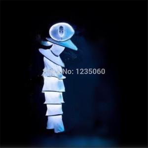 Бальные танцы Светодиодные Костюмы Робот Спортивный костюм Белый Светящийся Света Света Клоуна Носит Подиума Performance Одежда Бар Светодиод