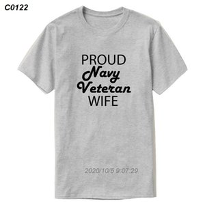 Nuovo edificio, Moda Proud Moglie T shirt Navy Veteran For Men 2019 Tempo libero Bianco Mens maglietta rotonda Collare Cotone Hiphop 3.316.510