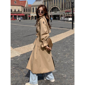 Long Trench Coat For Women 2020 Autumn Over Knee Korean Style Double-breasted Chic Loose Simple Classic Windbreaker Female