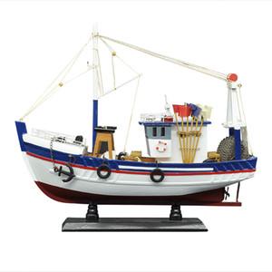 Luckk New 38см Белая рыбацкая лодка корабль модель 3d деревянные монтажные парусника игрушки для дома украшения аксессуары современные парусные лодки T200703