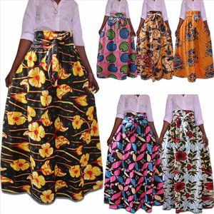 Vintage African Print Pleated Musulmano Donne lunghe Maxi Gonne Plus Size Lunghezza Piano Lunghezza alta Vita alta Jupe Longue Femme MS1720