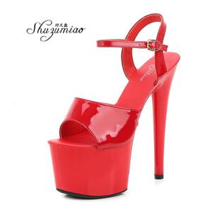 Shuzumiao atractivo de las mujeres Mostrar 13 15 17 cm de plataforma sandalias de las muchachas del zapato tacones altos partido del club de venta de la gota Stripper Zapatos