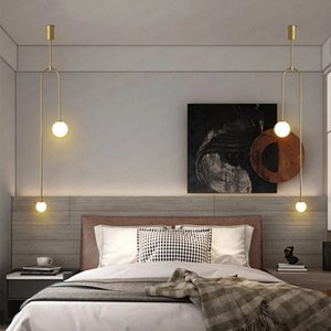 Nordic minimalist bedroom bedside chandelier creative personality restaurant bar background wall geometric line lamp