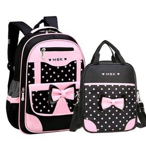 DIOMO 6-12 Jahre altes Kind-Schule-Beutel-Set für Mädchen Mode Dot netter Bogen-Schule-Rucksack Beginnen der Schule das beste Geschenk für Mädchen