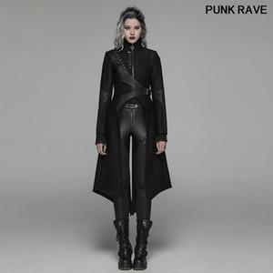 Punk Moda Parti Kulübü Performans Kadınlar Uzun Ceket Gotik Klasik Standı Yaka Bağlama Düzensiz Ceket Punk Rave WY-1061XCF