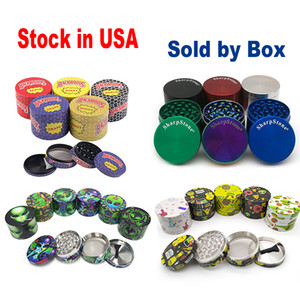 Stock en EE. UU. Sharpstone Grinder Rainbow Herb Millinder Metal Zinc Alloy Tabaco Herbal Grinders 4 capas 40/50/55 / ​​63mm Diámetro SHARP PIEDRA