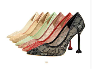 2021 NUEVA LLEGADA LLEGADA Tacones para mujer Cena de moda Cena Cena Zapatos Chicas Tacón alto Encaje Negro Rosa Punto puntiagudo Stazo 10 cm Tallo Tamaño 39 # P62
