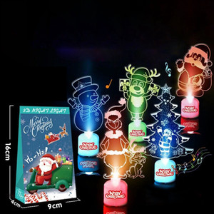Colorful LED Christmas Tree Acrylic Glowing Desktop Santa Snowman Tree Christmas Ornaments Kids Gift Home Decor Sea Shipping DDA666