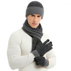 2020 Autumn and Winter Cross-border New European and American Knitted Double-sided Colored neck hat gloves three sets1