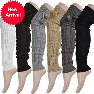Knitted Women Winter Warmers Knee Thigh High Tie Cable Long Socks Ladies Boot Leg WarmerSNQH
